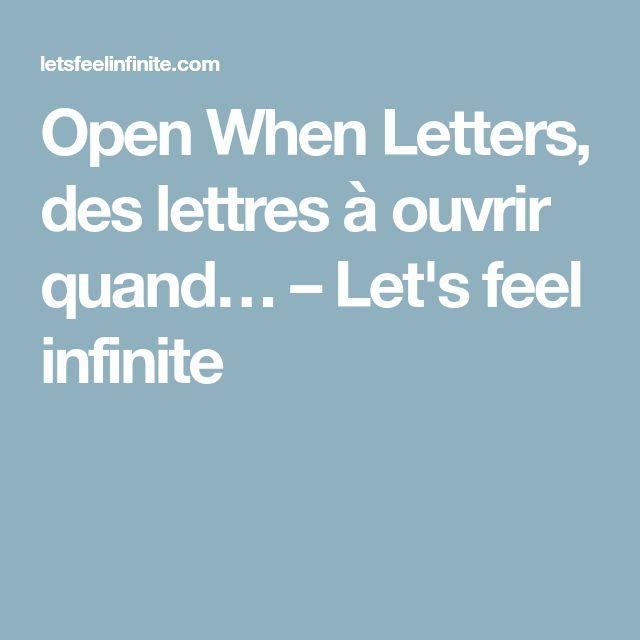 Open When Letters, des lettres à ouvrir quand… – Let's feel infinite