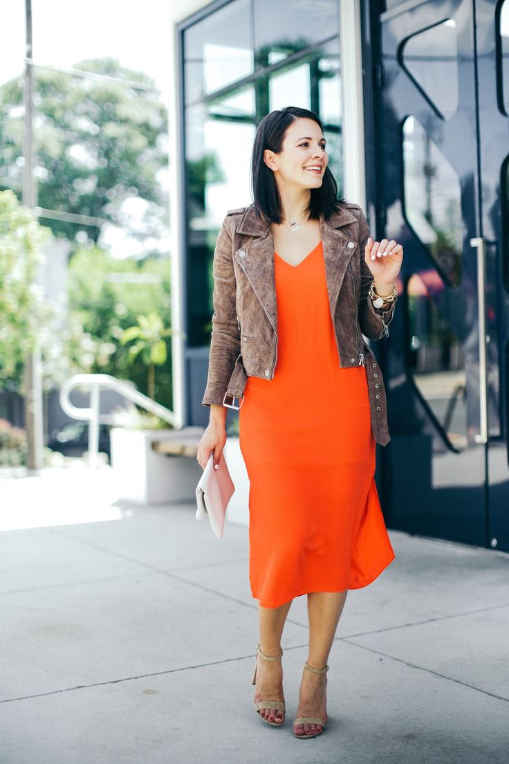 Best Suede Jacket - Outfit by | Fall outfit ideas Jackets and Red midi dress