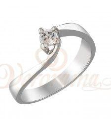 Μονόπετρo δαχτυλίδι Κ18 λευκόχρυσο με διαμάντι κοπής brilliant - MBR_069
