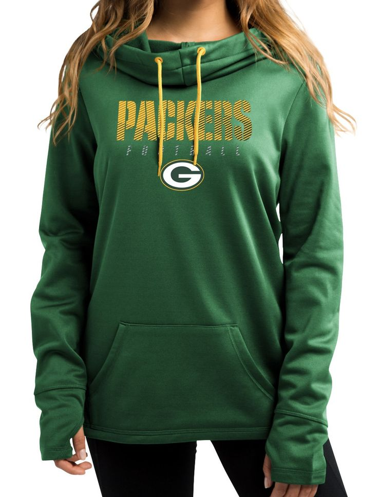 "Green Bay Packers Women's Majestic NFL ""Speed Fly"" Cowl Neck Hooded Sweatshirt"