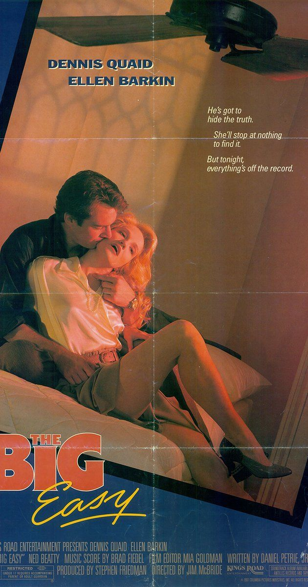 Directed by Jim McBride.  With Dennis Quaid, Ellen Barkin, Ned Beatty, John Goodman. Set in New Orleans. Remy McSwain, lieutenant in Homicide finds that he has two problems, the first of a series of gang killings and Ann Osborne, a beautiful attorney from the D.A.'s police corruption task force in his office. He begins a relationship with her as the killings continue only to have charges filed against him for accepting bribes as he stumbles on a police corruption Sting. While ...