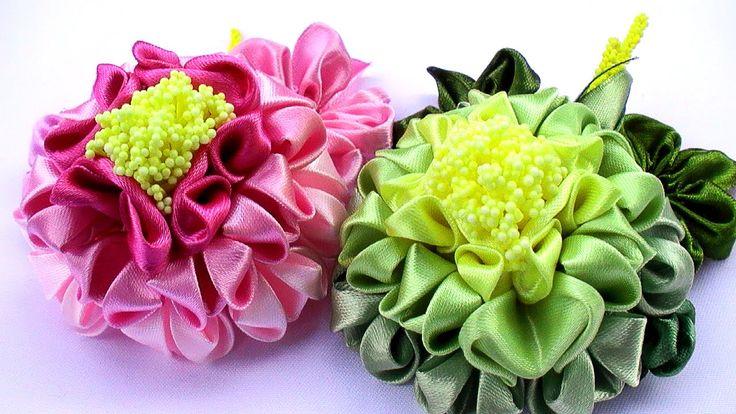 Цветы Канзаши / Kanzashi Flowers Tutorial / DIY Flowers Tutorial