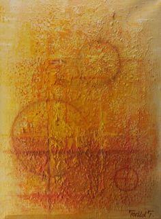 Livets sirkler 40x30 cm. Akryl på lerret m/ strukturer (mixed media).  Bildet går i fargene: Vanilje, gul-beige,  gul, , orange, rød-orange, korallrød, burgunder, brun.  For å se detaljer eller strukturer osv. i maleriet, kan du klikke opp bildet og bevege musepekeren over bildet.