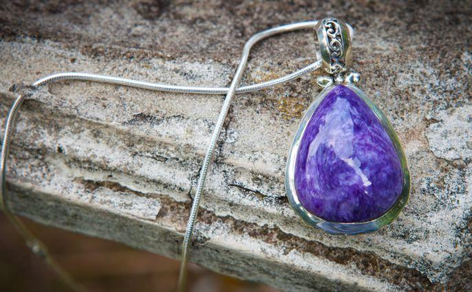 Avazera Transformation Collection -925 Sterling Silver, Purple Charoite Pendant