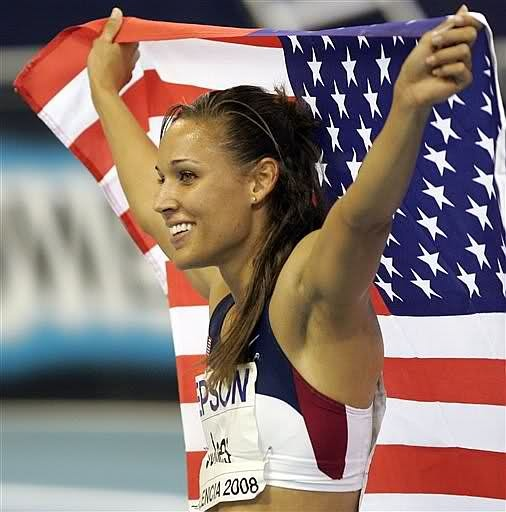 "She's inspiration! Grew up ""dirt poor"" her spine was messed up to we're she couldn't tell were her feet are! Loss in the last hurdle in the 09 Olympics and had never stopped training!"