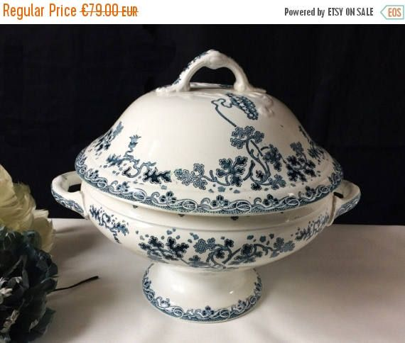 Welcome Gift Antique French Ironstone White Dark Blue Flowers.Pedestal Soup Tureen St Amand et Hamage Modern Style.French porcelaine transfe by FrenchVintageBazaar on Etsy
