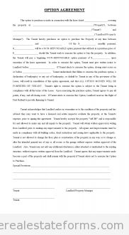 Free Option Agreement for Lease With Option to Buy Printable Real Estate Forms