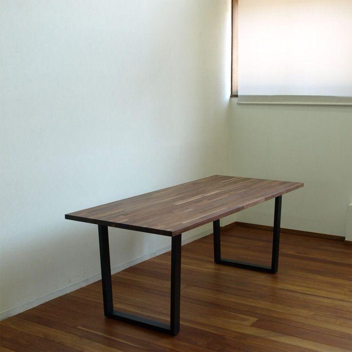 ウォールナット集成材 スチール脚 ダイニングテーブル