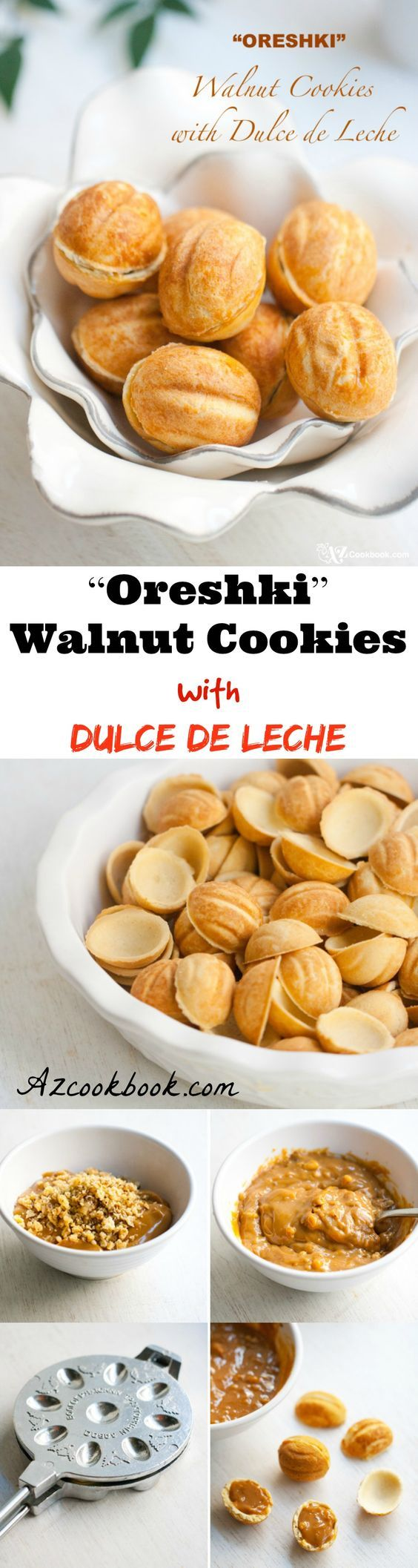 """Oreshki"" Walnut Cookies with Dulce de Leche. Meet some of the most unique cookies that hail from my childhood—walnut-shaped cookies called oreshki. Oreshki means ""nuts"" in Russian. In this particular case, it means ""walnuts."" How are these cookies and my childhood related? Check the blog for the rest of the story and recipe 