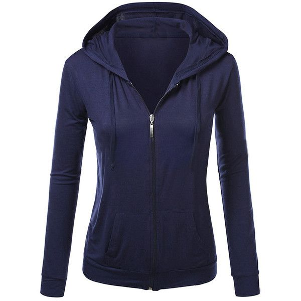 Womens Stylish Plain Long Sleeve Zipper Hoodie Navy Blue ($19) ❤ liked on Polyvore featuring jackets