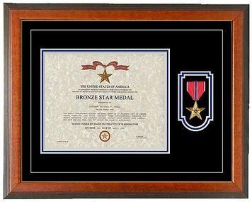 Bronze Star Certificate Frame - Horizontal