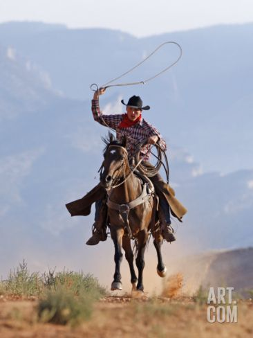Fantasy cowboyt | Cowboy Running with Rope Lassoo in Hand, Flitner Ranch, Shell, Wyoming ...