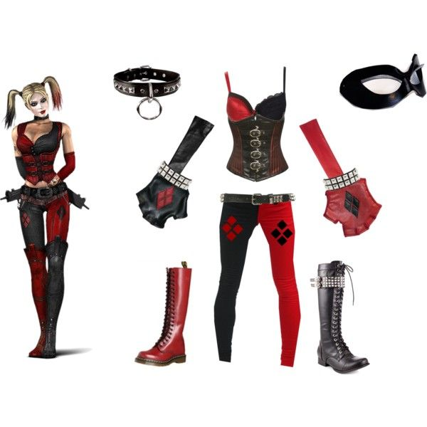 Harley Quinn Arkham City Costume | fashion look from November 2012 featuring Tripp jeans, Charlotte ...
