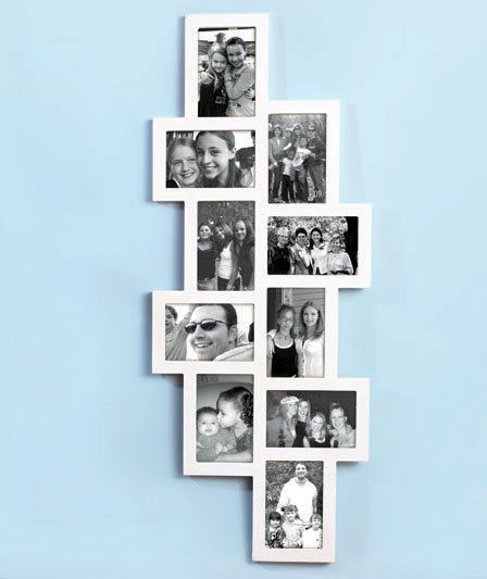 "White Wooden Horizontal Verticle 10 - 4"" x 6"" Photo Collage Frame Room Decor"