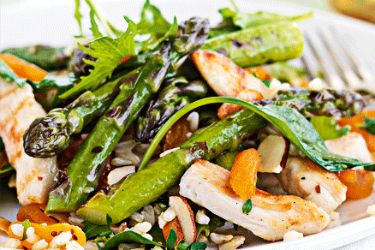 Seared asparagus, chicken and brown rice salad