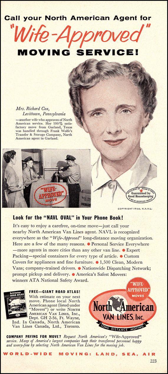 1956 Vintage Ad North American Van Lines by DoubleLMomEphemera