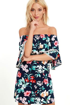 Get luau ready in the Floral I Know Navy Blue Floral Print Off-the-Shoulder Dress! A tier of woven rayon falls from an elastic, off-the-shoulder neckline to cover short sleeves, both with embroidered trim. Lovely green, red, pink, orange, and ivory floral print travels down the shift silhouette.