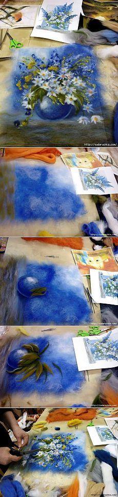 Картины рисуем - шерстью.