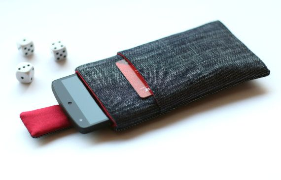 Nexus 5, Nexus 4 case cover sleeve handmade with magnetic closure, dark blue jeans and red with a pocket