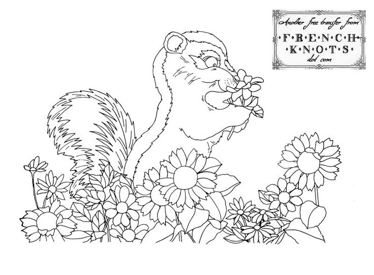Hand embroidery patterns free printables cute chipmunks for Garden embroidery designs free