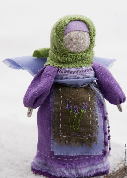Народная кукла, оберег, Ангел хранитель, Нежная лаванда, оберег для дома, оберег для семьи, оберег на счастье, сиреневый, салатовый, зеленый, лаванда.