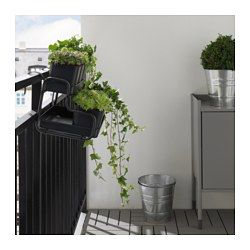 You can hang the flower box and plant pot from a balcony rail and create a decorative garden, even in a small space.