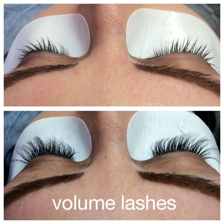 Volume silk eyelash extensions before and after