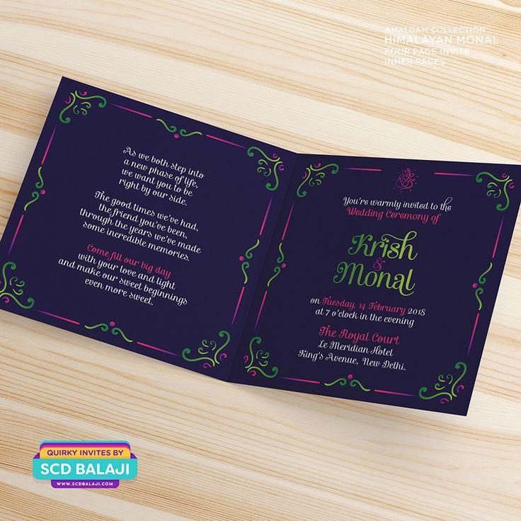 friends marriage invitation wordings india%0A Himalayan Monal  Amalgam Collection  Explore the complete wedding  invitation suite at www scdbalaji com Creative Indian Wedding Invitation  Suite Design