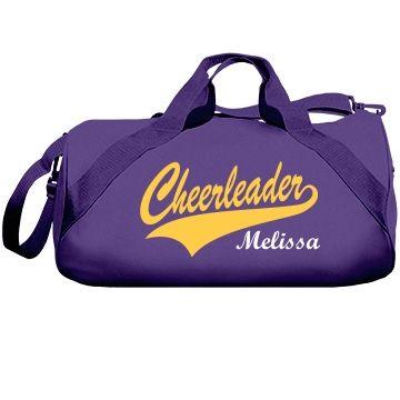 Cheerleader Melissa. Custom cheer bag cheer duffel