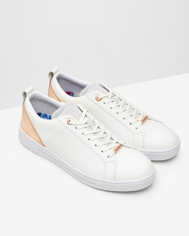 Metallic detail trainers - White | Shoes | Ted Baker UK