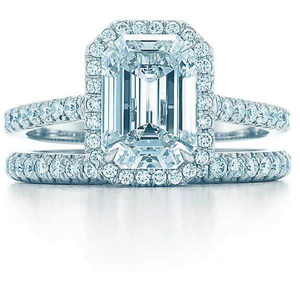 Tiffany Soleste Emerald Cut (€12.505) ❤ liked on Polyvore featuring jewelry, rings, tiffany co jewelry, diamond engagement rings, tiffany co jewellery, emerald cut engagement rings and tiffany co rings