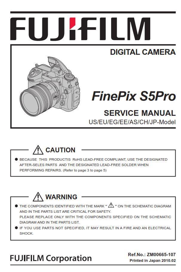 Fujifilm Finepix S5pro Digital Slr Camera Service Manual Repair Guide Finepix Fujifilm Finepix Fujifilm