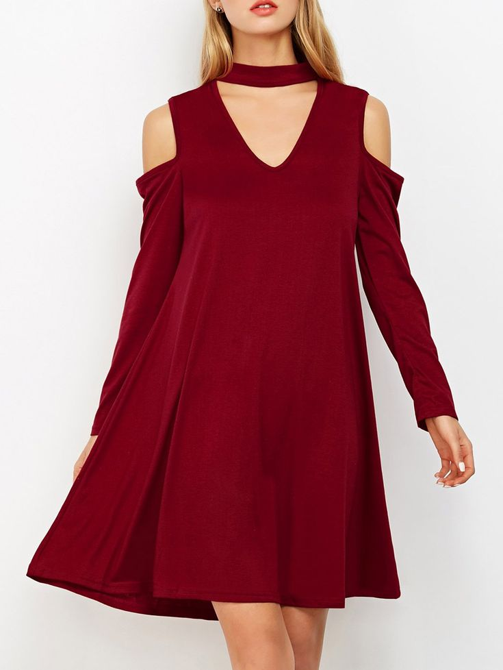 $20.49 Cutout Shoulder Choker Neck Swing Dress - BURGUNDY S