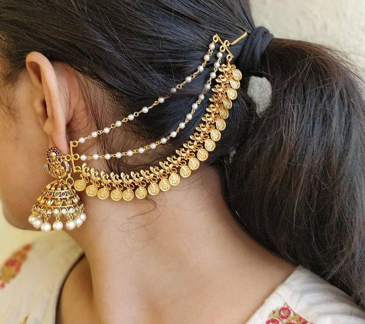 Imitations jhumkas with ear chains. Shop at @daivik.in