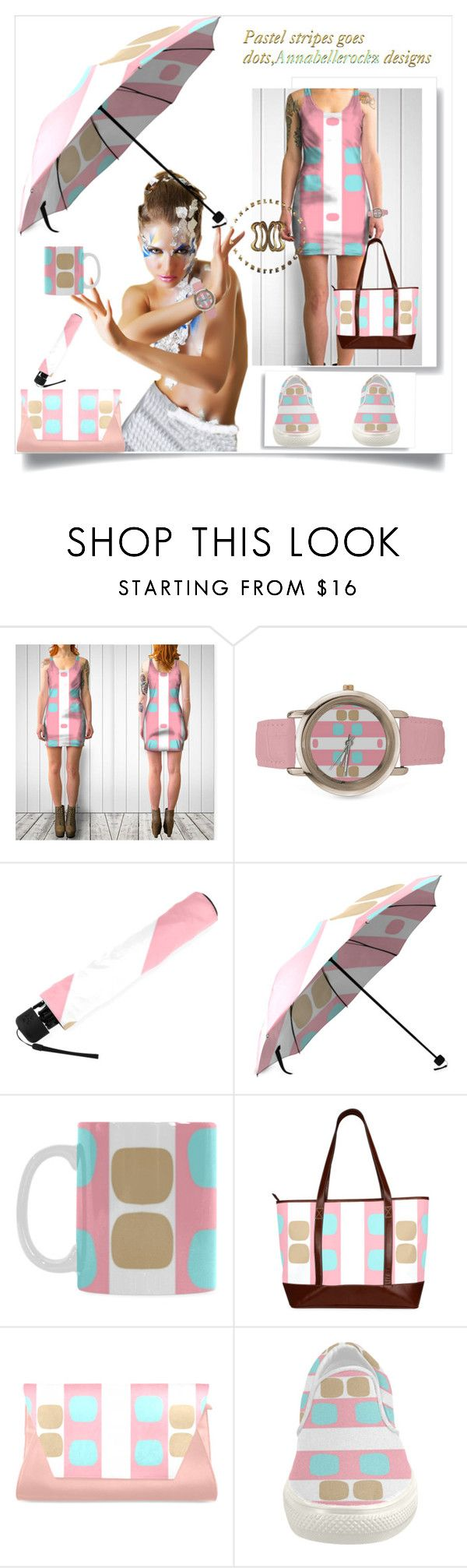 Pastel stripes goes dots by annabelle-h-ringen-nymo on Polyvore featuring women's clothing, women's fashion, women, female, woman, misses and juniors