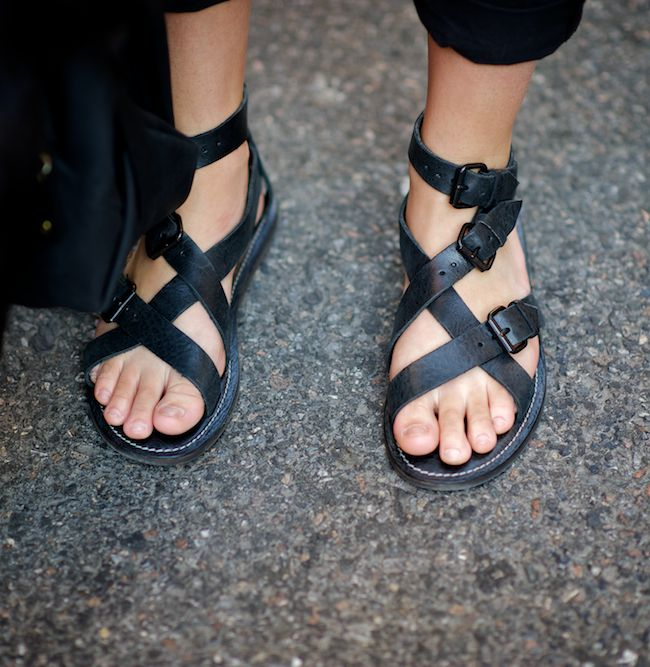 NEVER, no way, not in a million years. Men should not wear sandals, even if they have nice feet. No.