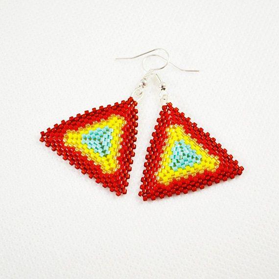 Colourful triangles earrings Woven earrings Sedd beads