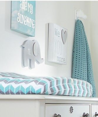 wendy bellissimo nursery grey teal chevron changing pad cover