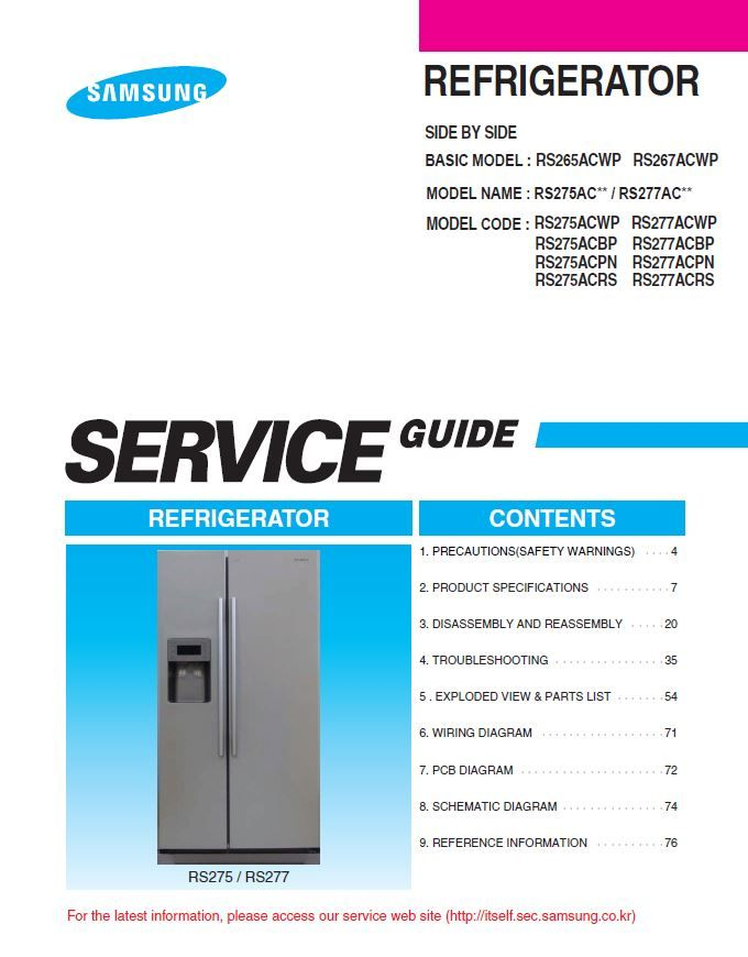 Samsung Rs275acwp Rs275acrs Rs275acpn Rs275acbp Service Manual Side By Side Refrigerator Refrigerator Sale Repair Guide