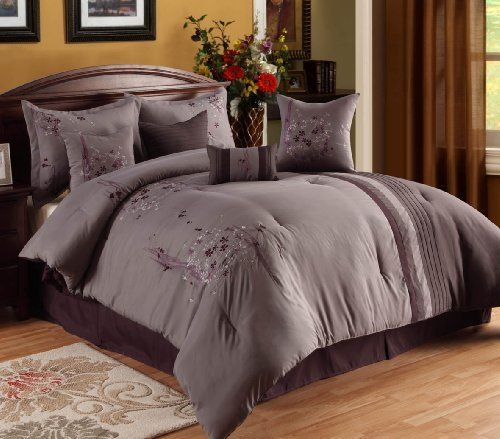 oversized overfilled luxurious 8 piece purple lavendar comforter set king size by home. Black Bedroom Furniture Sets. Home Design Ideas