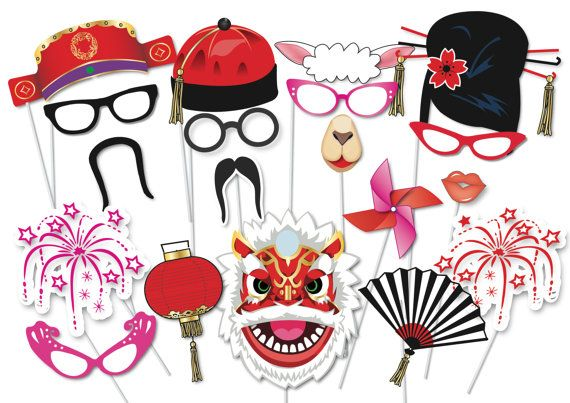 Chinese New Year Party Photo booth Party Props Set - 35 Piece PRINTABLE - Year of the Sheep Photobooth Props, Chinese Lanterns, decorations