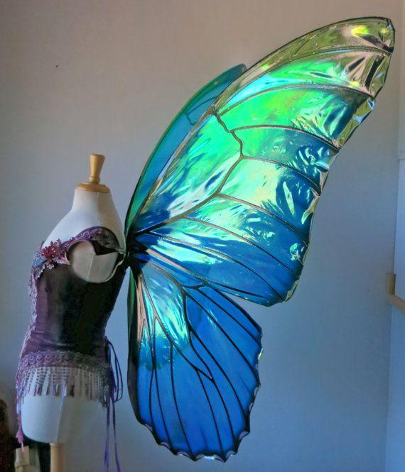 Ali di fata farfalla Morpho gigante su di TheFancyFairy su Etsy