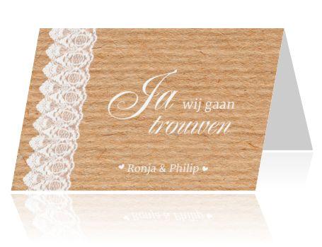 Hippe trouwkaart met romantisch kant