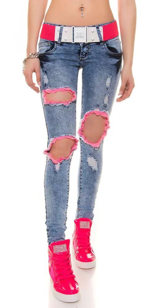 Moderní dámské džíny s ažurami