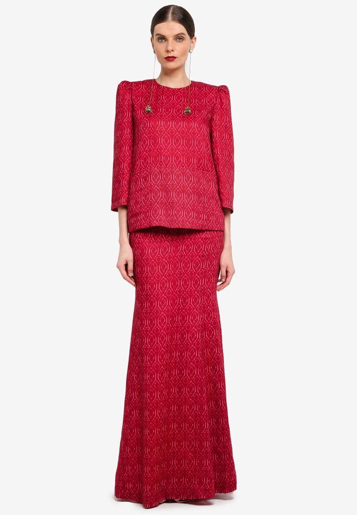 Baju Kurung : Kedah Pocket Kurung from Rizalman for Zalora in red_1