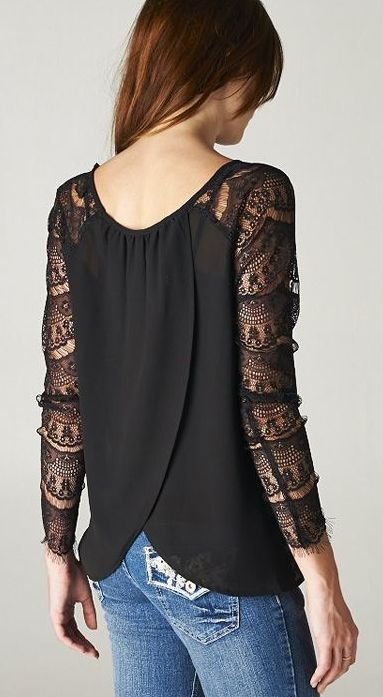 Lace sleeves would wear black or off white skinny pants with this instead of jeans