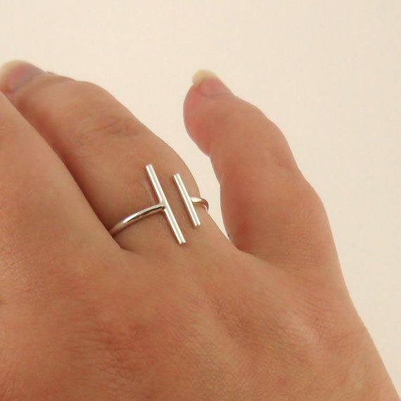 Two Bars Open Ring Parallel Bar Ring Skinny Ring Sterling