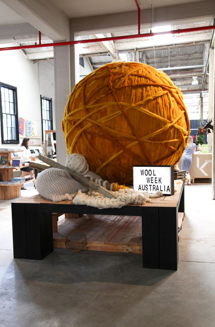 voguelivingmagazine: As part of Campaign for Wool's Wool Week Australia, Sydney art and design showroom Koskela has put together this installation, involving an enormous ball of wool and giant knitting needles. The campaign, headed by its patron HRH The Prince of Wales, is intended to educate about the beauty and versatility of wool in fashion, furnishings and everyday life.