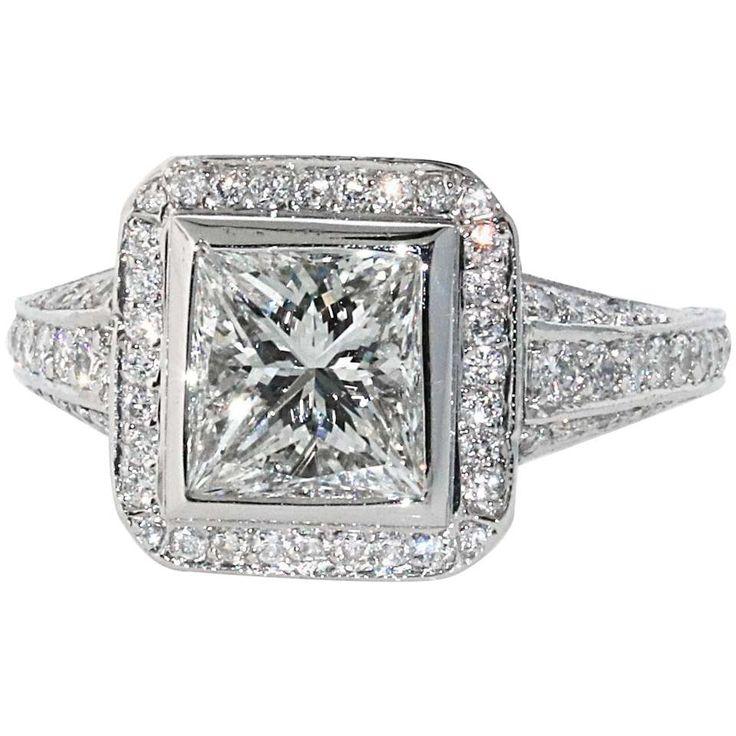 1.54 H/VVS2 Princess Cut Diamond Engagement Ring, Signed Peter Norman Mounting 1