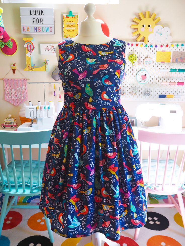 Made to Order Colourful Flock of Birds Print Dress - Ladies Handmade Dress